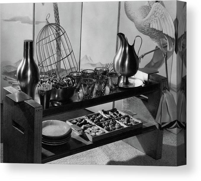 Interior Canvas Print featuring the photograph A Table With Tableware And Snacks by The 3