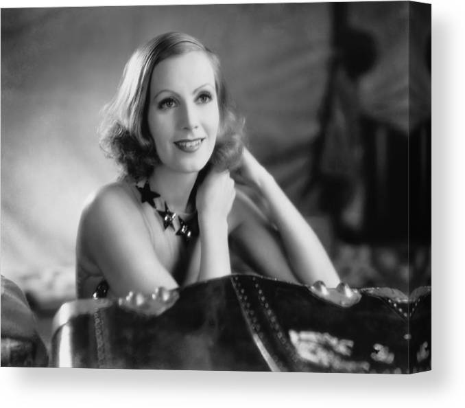 1920's Canvas Print featuring the photograph Actress Greta Garbo by Underwood Archives