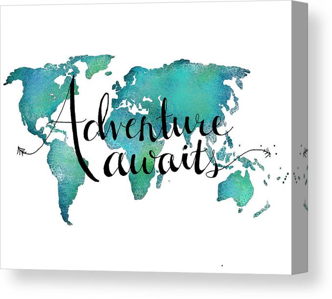 Adventure Awaits Canvas Print featuring the digital art Adventure Awaits - Travel Quote on World Map by Michelle Eshleman