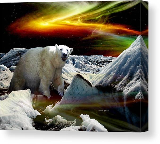 Alaska Canvas Print featuring the digital art Alaska Aurora Polar Bear on Glacier  # DA 055 by Dianne Roberson
