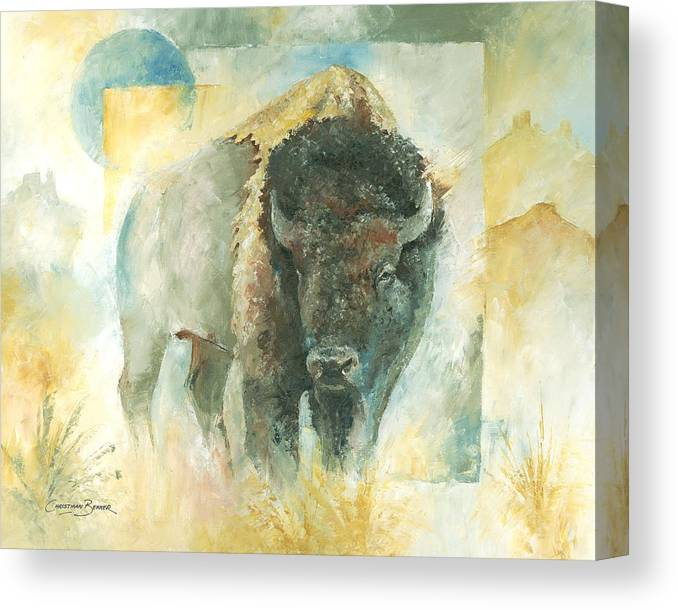North Canvas Print featuring the painting American Bison Buffalo Bull by Christiaan Bekker