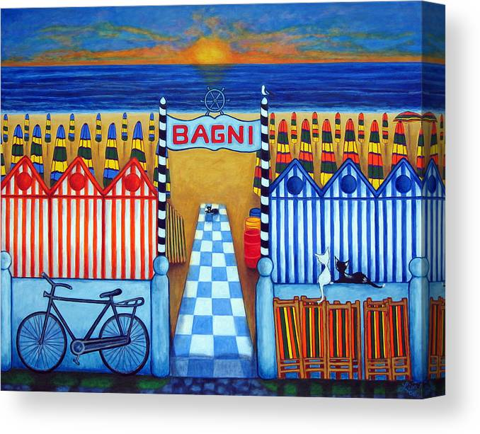 Italy Canvas Print featuring the painting An Italian Summer's End by Lisa Lorenz