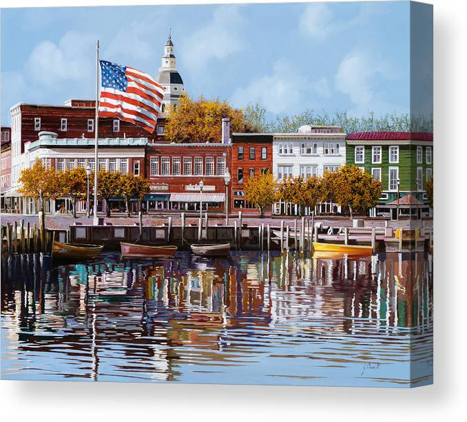 Annapolis Canvas Print featuring the painting Annapolis MD by Guido Borelli