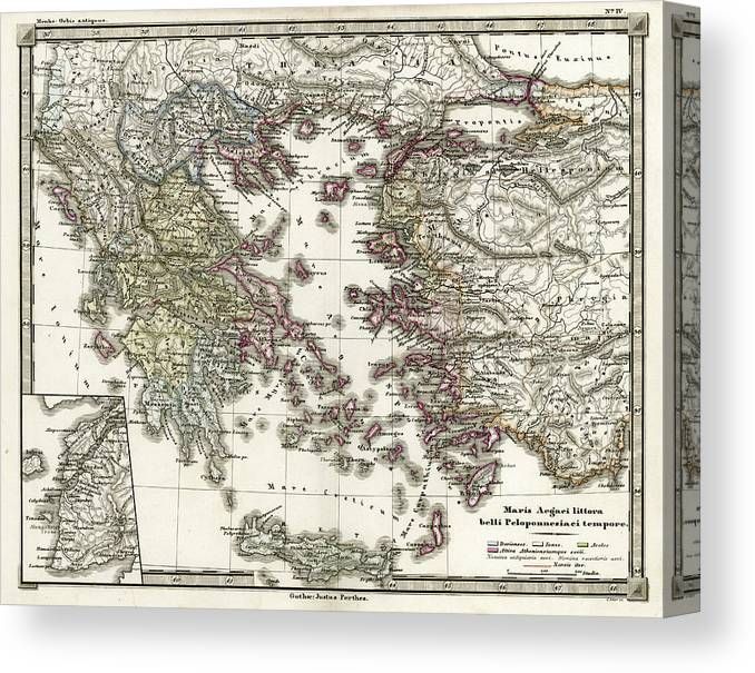 Ancient History Canvas Print featuring the digital art Antique Map Of Ancient Greece by Duncan1890