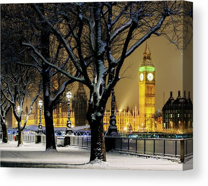 Tranquility Canvas Print featuring the photograph Big Ben And Houses Of Parliament In Snow by Shomos Uddin