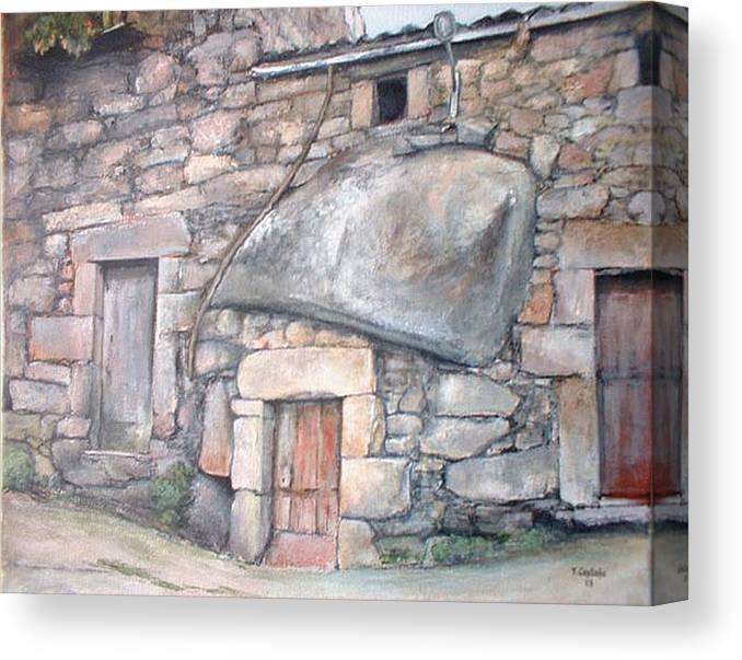Fermoselle Canvas Print featuring the painting Bodega En Fermoselle by Tomas Castano