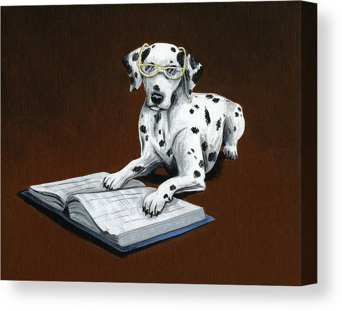 Dalmatian Canvas Print featuring the painting Book worm...Dog Art Painting by Amy Giacomelli