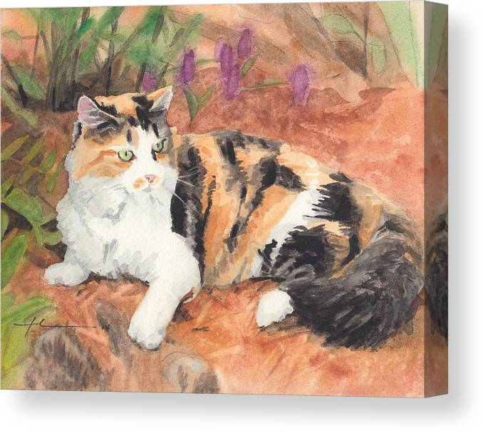 <a Href=http://miketheuer.com Target =_blank>www.miketheuer.com</a> Calico Cat In Garden Watercolor Painting Theuer Canvas Print featuring the painting Calico Cat In Garden Watercolor Painting by Mike Theuer