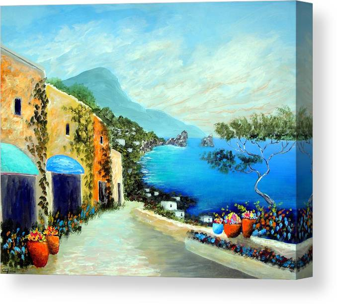 Italy Mediterranean Art Tuscany Canvas Print featuring the painting Capri Fantasies by Larry Cirigliano