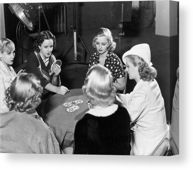 1930s Canvas Print featuring the photograph Chorus Girls Playing Hearts by Underwood Archives