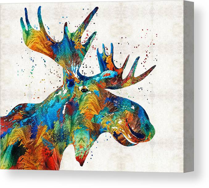 Moose Canvas Print featuring the painting Colorful Moose Art - Confetti - By Sharon Cummings by Sharon Cummings