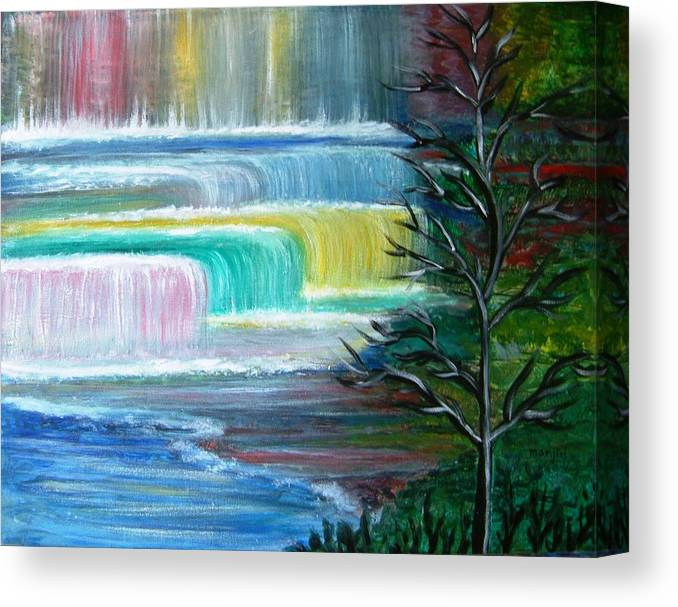 Landscape Canvas Print featuring the painting Dream Falls by Manjiri Kanvinde