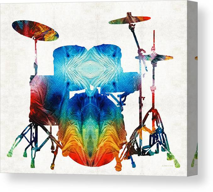 Drum Canvas Print featuring the painting Drum Set Art - Color Fusion Drums - By Sharon Cummings by Sharon Cummings