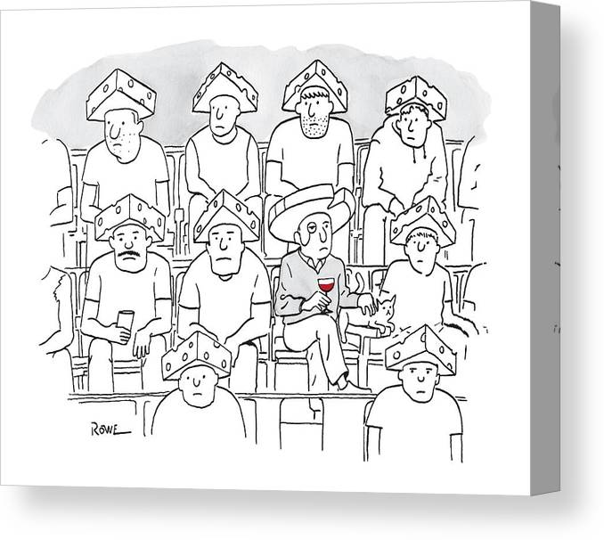 Captionless Canvas Print featuring the drawing Fans At A Football Game Sit In The Stands Wearing by Julian Rowe
