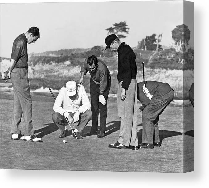 1952 Canvas Print featuring the photograph Five Golfers Looking At A Ball by Underwood Archives