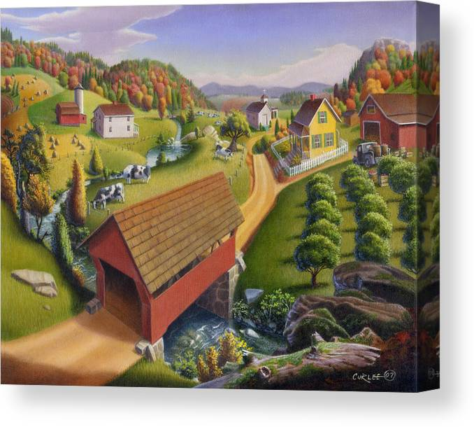 Covered Bridge Canvas Print featuring the painting Folk Art Covered Bridge Appalachian Country Farm Summer Landscape - Appalachia - Rural Americana by Walt Curlee