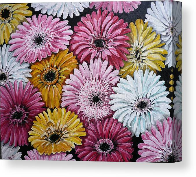 Flower Paintings Daisy Paintings Floral Paintings Blooms Color .gerbera Daisy Paintings Greeting Card Painting S Canvas Painting Poster Print Paintings Canvas Print featuring the painting Gebera Daisies by Karin Dawn Kelshall- Best
