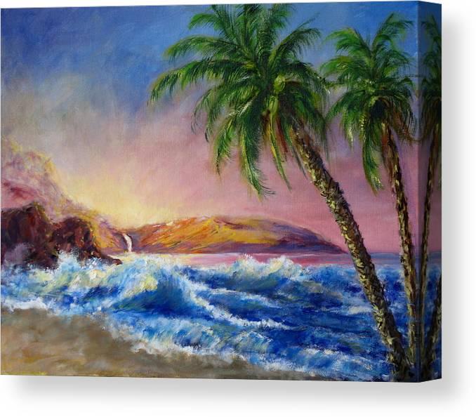 Hawaii Canvas Print featuring the painting Hawaiian Setting Sun by Thomas Restifo