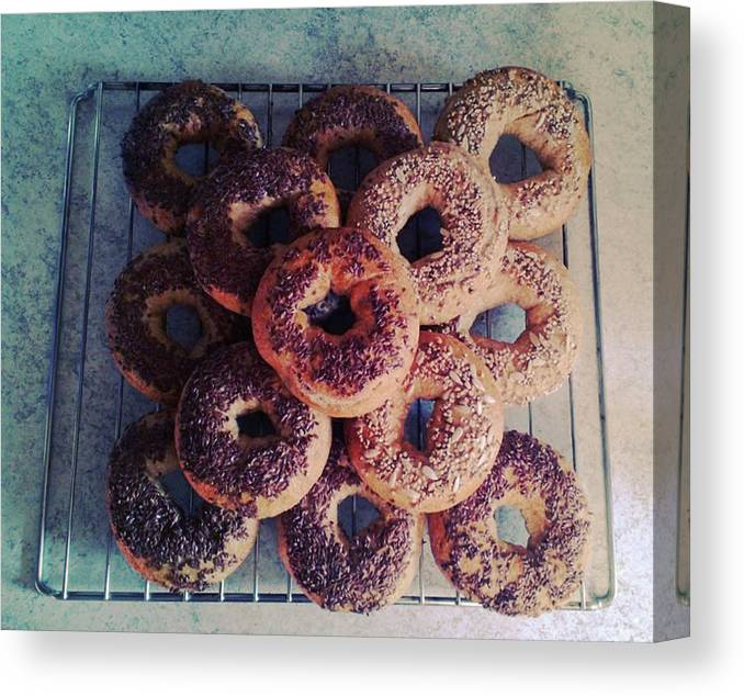 Flax Seed Canvas Print featuring the photograph Homemade Bagels by Lasse Kristensen