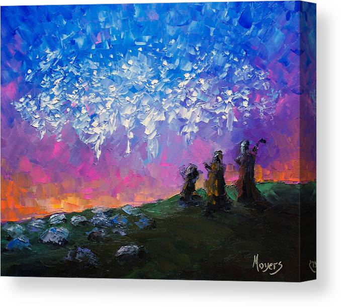 8x10 Canvas Print featuring the painting Host of Angels by Mike Moyers