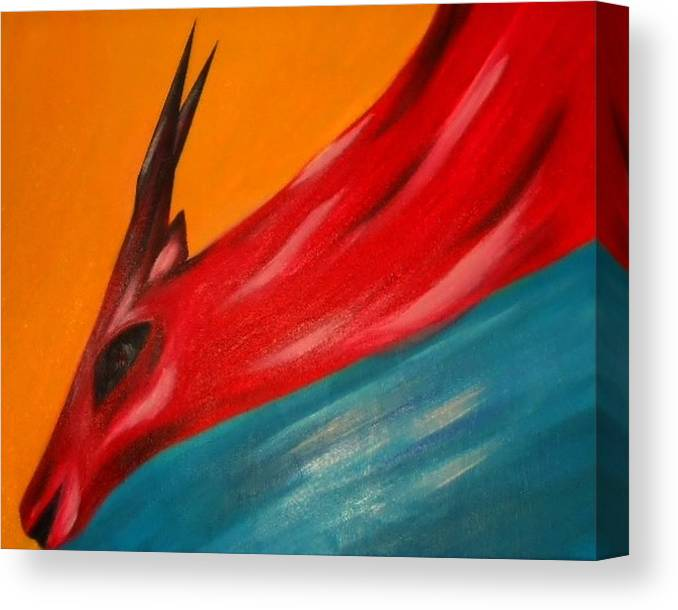 Nature Canvas Print featuring the painting Impala in red by Joseph Ferguson