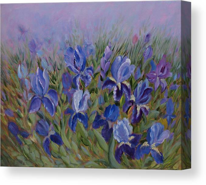 Spring Canvas Print featuring the painting Irises by Joanne Smoley