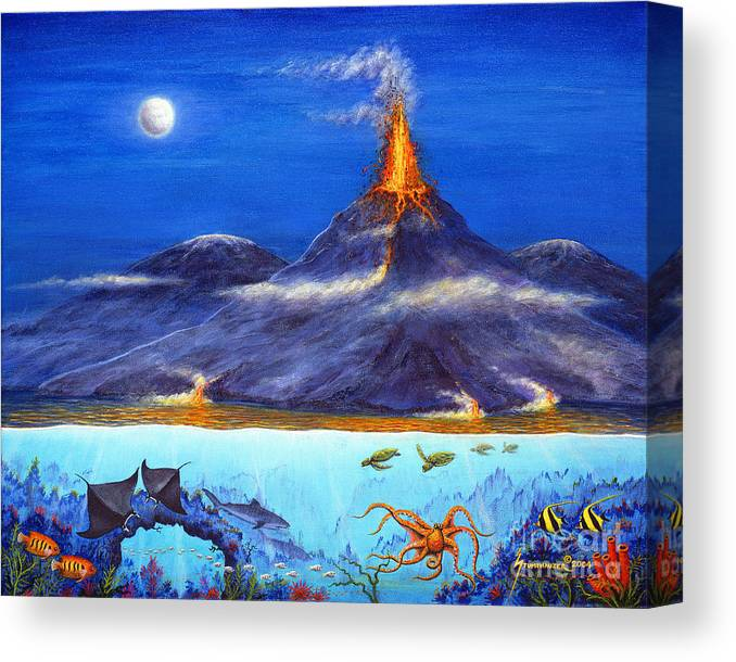 Kilauea Canvas Print featuring the painting Kilauea Volcano Hawaii by Jerome Stumphauzer