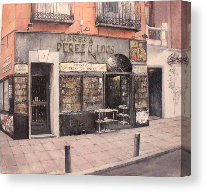 Old Canvas Print featuring the painting Libreria Perez Galdos by Tomas Castano