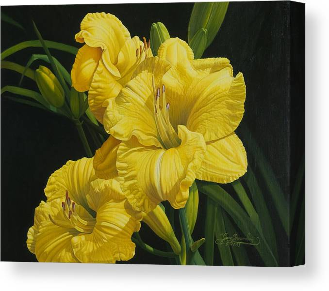 Floral Canvas Print featuring the painting Lilies for Olivia Rose by Gary Hernandez