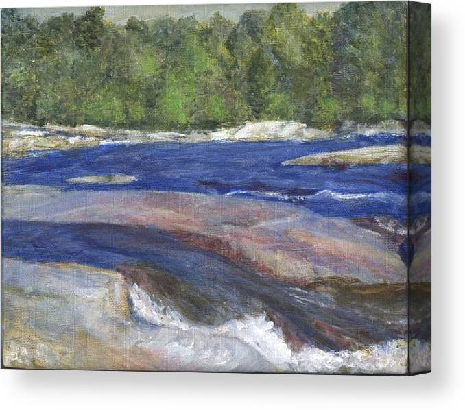 Moose River Canvas Print featuring the painting Little Rapids by Sheila Mashaw