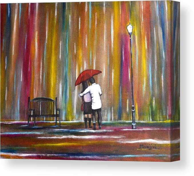 Romance Canvas Print featuring the photograph Love in the Rain by Manjiri Kanvinde
