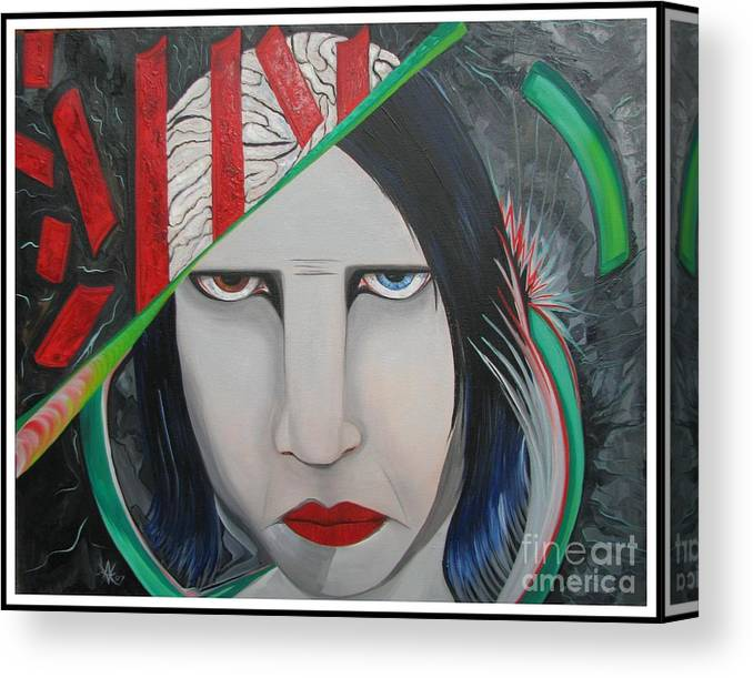Marilyn Manson Canvas Print featuring the painting Marilyn by Aimee Vance