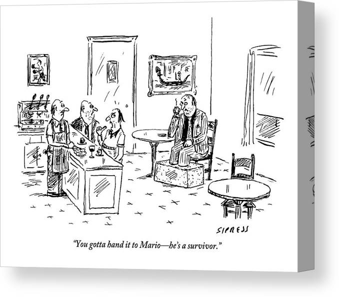 Mobster Canvas Print featuring the drawing Men In A Restaurant Discuss A Patron Whose Feet by David Sipress