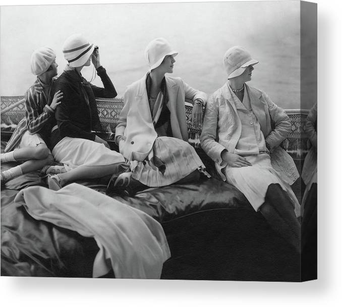 Accessories Canvas Print featuring the photograph Models On A Yacht by Edward Steichen