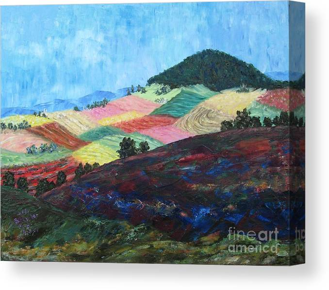 Landscape Canvas Print featuring the painting Mole Hill Patchwork - SOLD by Judith Espinoza