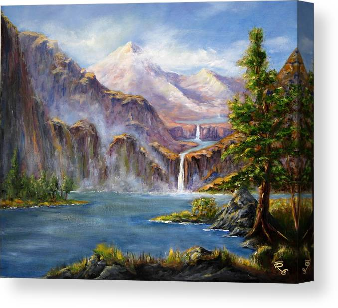 Landscapes Canvas Print featuring the painting Mountain Falls by Thomas Restifo
