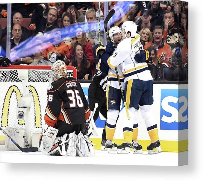 Playoffs Canvas Print featuring the photograph Nashville Predators V Anaheim Ducks - by Harry How