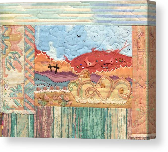 Hand Applique Canvas Print featuring the tapestry - textile New Mexican Lanscape by MtnWoman Silver
