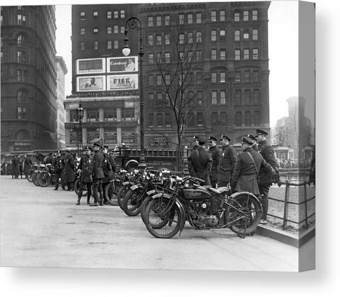 1920's Canvas Print featuring the photograph Ny Motorcycle Police by Underwood Archives