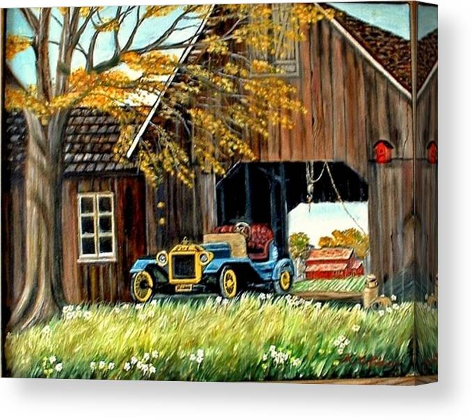 Old Barn Car Canvas Print featuring the painting Old Barn and Old Car by Kenneth LePoidevin
