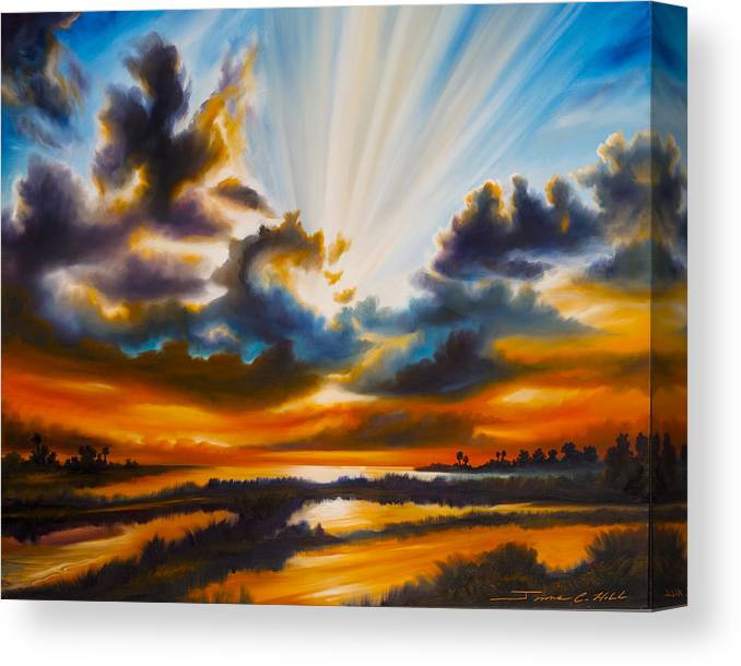 Sunrise Canvas Print featuring the painting Paradise by James Christopher Hill