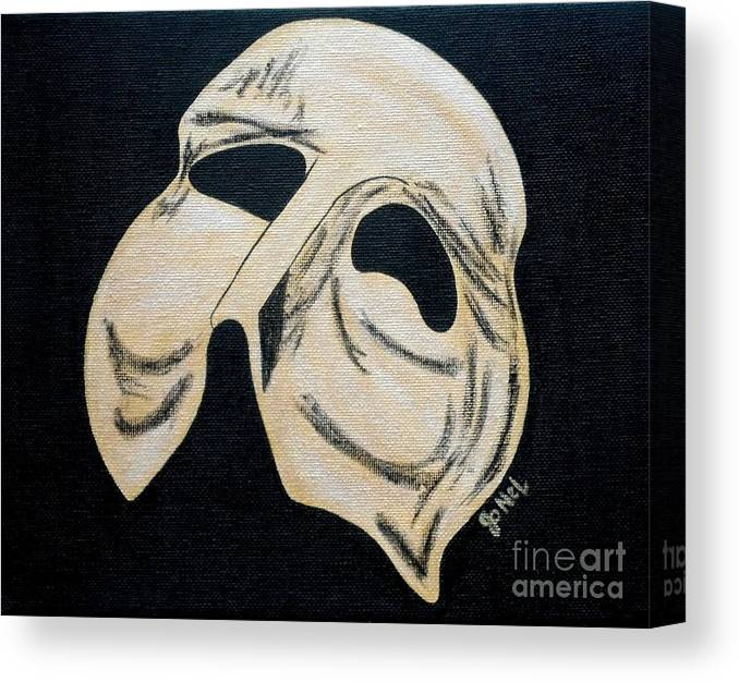 Mask Canvas Print featuring the painting Phantom Mask by JoNeL Art