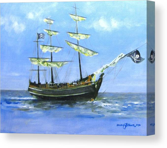 Pirate;pirate Ship;blackbeard Pirate;ship;sea;sail Ship; Canvas Print featuring the painting Pirate by Howard Stroman