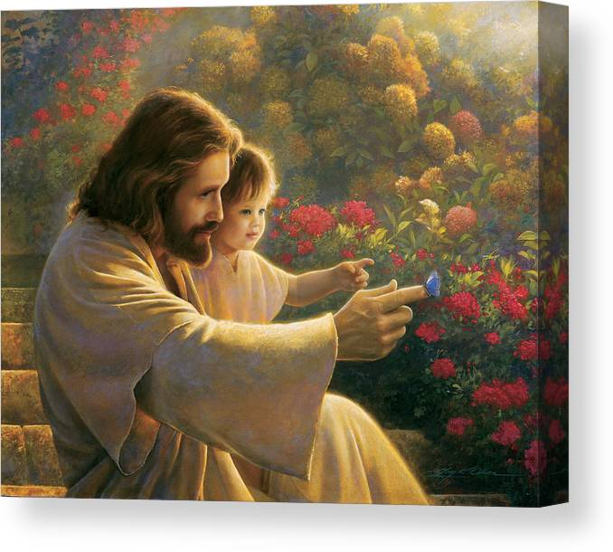Jesus Canvas Print featuring the painting Precious In His Sight by Greg Olsen