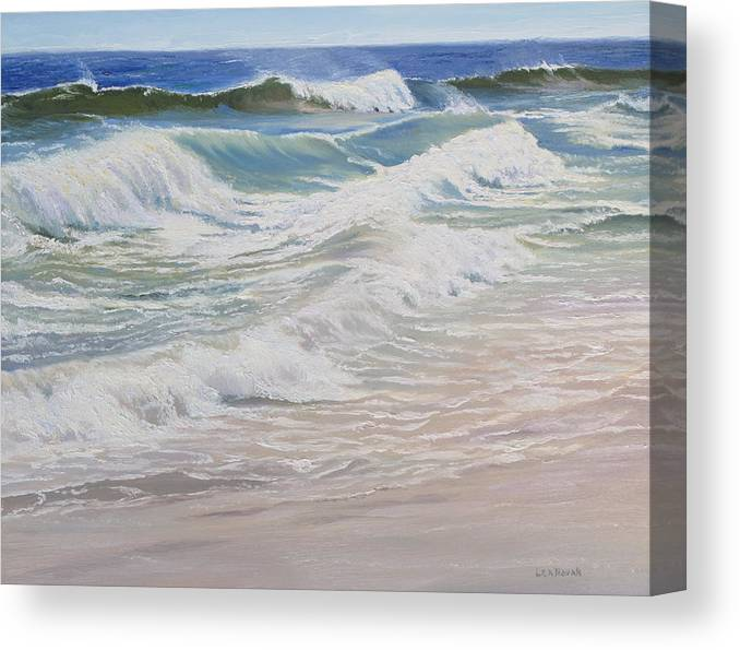 Seascape Canvas Print featuring the painting Rolling and Crashing by Lea Novak