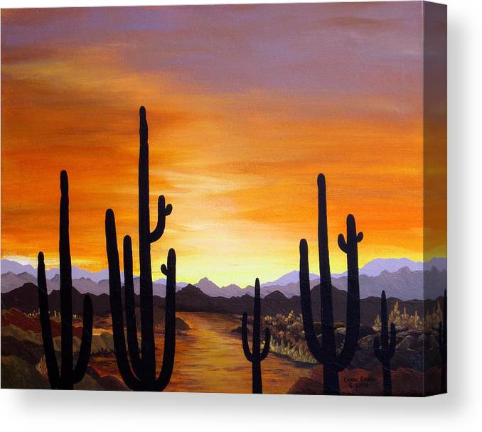 Acrylic Canvas Print featuring the painting Saguaro Sunset by Carol Sabo
