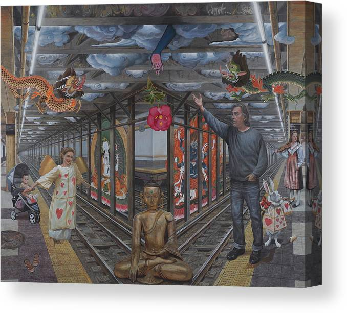 Subway Canvas Print featuring the painting Self portrait at 14th street station by Alfredo Arcia