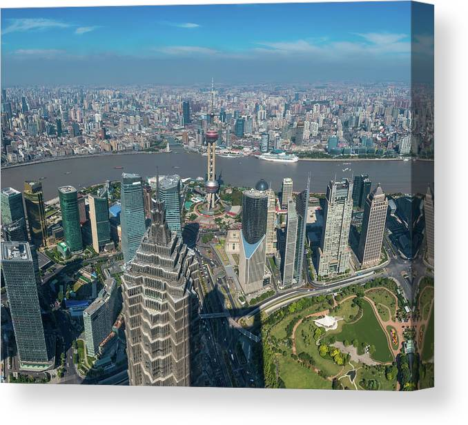 Chinese Culture Canvas Print featuring the photograph Shanghai Aerial View Over Pundong by Fotovoyager