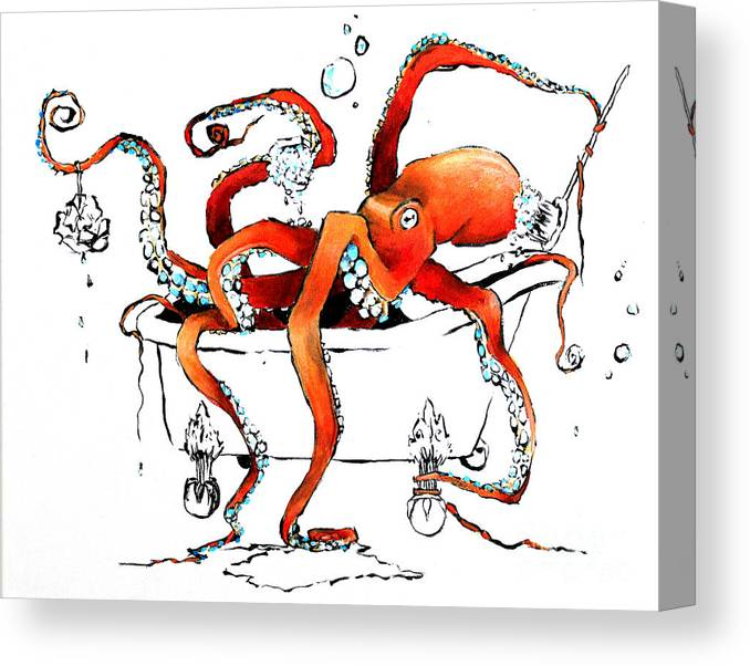Octopus Canvas Print featuring the painting Silly Octopus taking a bath by Arleana Holtzmann