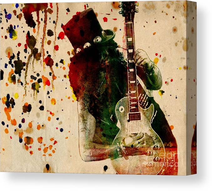 Rock N Roll Canvas Print featuring the painting Slash - Watercolor Print from Original by Ryan Rock Artist